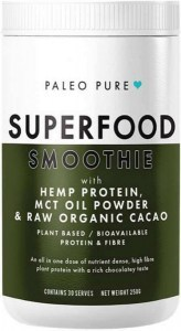 Paleo Pure Superfood Smoothie with Hemp Protein, MCT Oil Powder & Raw Organic Cacao 250g