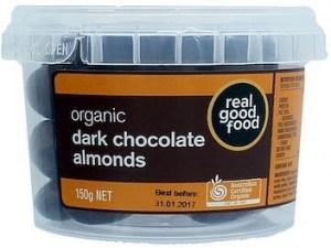 Real Good Food Almonds Choc Coated Dark Organic Tub  150g