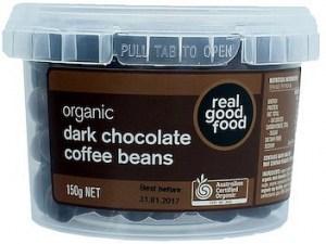 Real Good Food Coffee Beans Choc Coated Dark Organic Tub  150g
