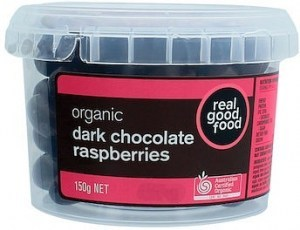 Real Good Food Raspberries Choc Coated Dark Organic Tub G/F 150g