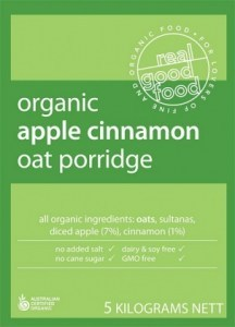 Real Good Foods Organic Apple Cinnamon Oat Porridge 5kg