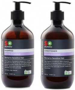 Saba Organics Hair Pack - Lavender & Coconut Shampoo and Conditioner