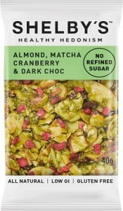 Shelby's Healthy Hedonism Almond, Matcha, Cranberry & Dark Choc 12x40g