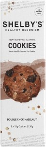 Shelby's Healthy Hedonism Double Choc Hazelnut (8x15g) Cookies  120g