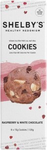 Shelby's Healthy Hedonism Raspberry & White Chocolate (8x15g) Cookies  120g JAN22