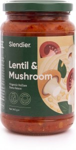 Slendier Lentil & Mushroom Organic Italian Pasta Sauce 340g