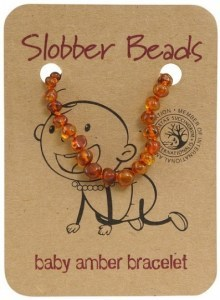 Slobber Beads Baltic Amber Baby Teething Bracelet Cognac Oval