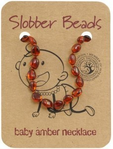 Slobber Beads Baltic Amber Baby Teething Necklace Cognac Oval