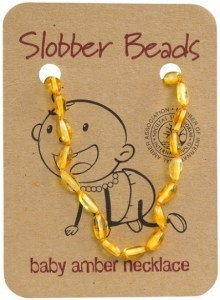 Slobber Beads Baltic Amber Baby Teething Necklace Lemon Oval