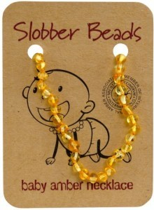 Slobber Beads Baltic Amber Baby Teething Necklace Lemon Round