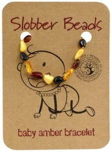 Slobber Beads Baltic Amber Baby Teething Bracelet Multi Oval