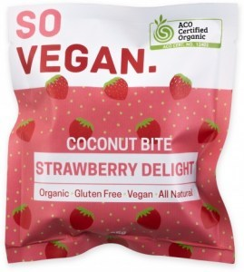 So Vegan Organic Coconut Bite Strawberry  25g