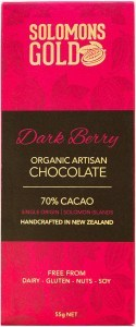 Solomons Gold Dark Berry Organic Artisan Chocolate 70% Cacao  55g