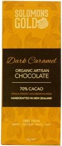 Solomons Gold Dark Caramel Organic Artisan Chocolate 70% Cacao  55g