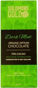 Solomons Gold Dark Mint Organic Artisan Chocolate 70% Cacao  55g Feb 22