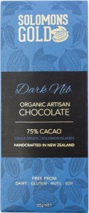 Solomons Gold Dark Nib Organic Artisan Chocolate 75% Cacao  55g Jan 22