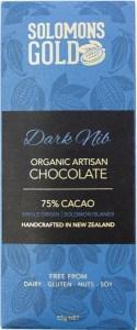 Solomons Gold Dark Nib Organic Artisan Chocolate 75% Cacao  55g