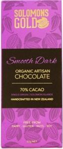 Solomons Gold Smooth Dark Organic Aritsan Chocolate 70% Cacao  55g March 22