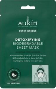 Sukin Super Greens Detoxifying Sheet Mask Sachet  25ml