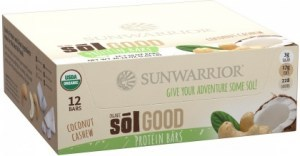Sunwarrior Sol Good Organic Protein Bars Coconut Cashew 12x62g
