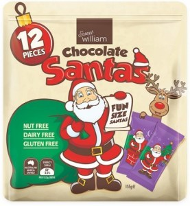 Sweet William Chocolate Santas 12 Mulitpack  155g