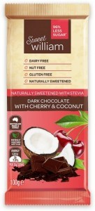 Sweet William Dark Chocolate with Cherry & Coconut (Stevia sweetened) 100g