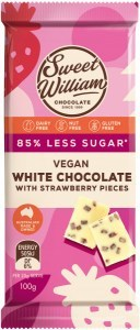 Sweet William Strawberry White Chocolate (Stevia sweetened) 100g
