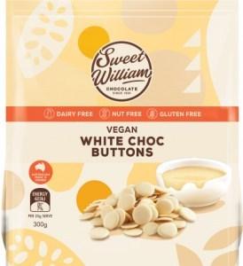 Sweet William Vegan White Chocolate Buttons 300g