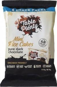 Table of Plenty Dark Chocolate Mini Rice Cakes 6x14g Snack Packs  84g