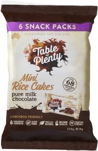 Table of Plenty Milk Chocolate Mini Rice Cakes 6x14g Snack Packs G/F 84g