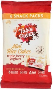 Table of Plenty Triple Berry Yoghurt  Mini Rice Cakes 6x14g Snack Packs G/F 84g