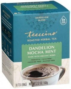 Teeccino Chicory Herbal Tea Organic Dandelion Mocha Mint No Caf  10Teabags 60g