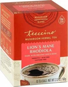 Teeccino Lion's Mane Rhodiola Mushroom Adaptogen 10Teabags Box 60g