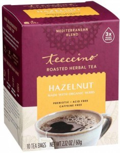 Teeccino Roasted Herbal Tea Hazelnut Medium Roast No Caf 10Teabags 60g