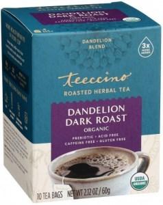 Teeccino Roasted Herbal Tea Organic Dandelion Dark Roast No Caf  10Teabags 60g