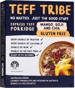 Teff Tribe Instant Porridge Mango,Goji And Chia  (5x40g Sachets) 200g