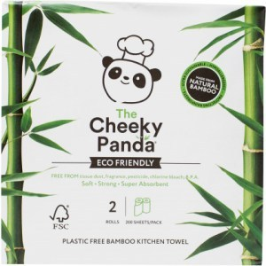 The Cheeky Panda Plastic Free Kitchen Paper Towel 2 Rolls (200 Sheets / Pack)