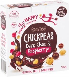 The Happy Snack Company Chickpeas Dark Choc & Raspberry (5x20g) Snack Packs  100g