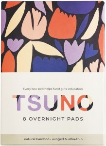 Tsuno Natural Bamboo Overnight Pads - Winged & Ultra Thin Box of 8