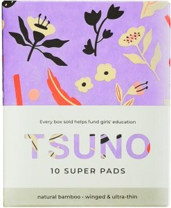 Tsuno Natural Bamboo Super Pads Winged & Ultra Thin Box of 10