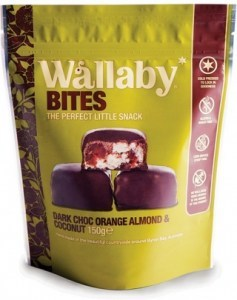 Wallaby Bites Dark Chocolate Orange Almond & Coconut 150g