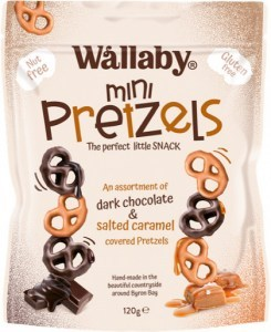 Wallaby Mini Pretzels Assortment of Dark Chocolate&Salted Caramel  120g