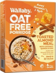 Wallaby Oat Free Porridge Honey Cinnamon & Apple  6x40g Sachets