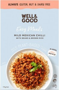 Well And Good Easy Meal Mild Mexican Chilli With Beans & Brown Rice  170g NOV21