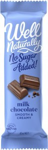 Well Naturally No Sugar Added Creamy Milk Chocolate 45gx16Bars