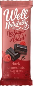 Well Naturally No Sugar Added Dark Chocolate Raspberry Crush Block  12x90g