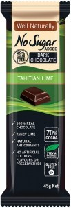 Well,naturally No Sugar Added Dark Chocolate Tahitian Lime Bars  16x45g