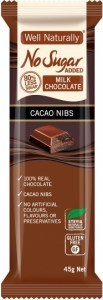 Well,naturally No Sugar Added Milk Chocolate Cacao Nibs Bars  16x45g