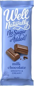 Well Naturally No Sugar Added Creamy Milk Chocolate Block 12x90g