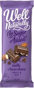 Well Naturally No Sugar Added Fruit & Nut Milk Chocolate 12x90g